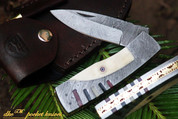 "DKC-151 WHITE LUX Damascus Steel Blade Folding Pocket Knife 3.5"" 8"" Overall 11oz Incredible Look and Feel"