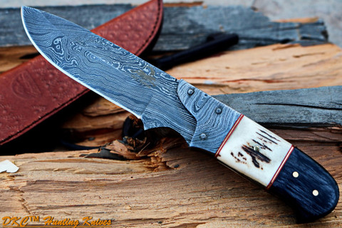 "DKC-715 SWAGGER Damascus Steel Stag Horn Hunting Handmade Knife Fixed Blade 8.5 oz 9"" Long 4"" Blade"