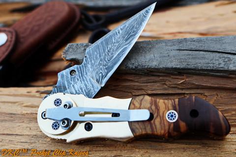 "DKC-633-PC  GALAXY  Pocket Clip Damascus Steel Folding Knife DKC Knives (TM) 7.7 oz 3.25"" Blade 7.5"""" Overall 4.5"" Closed"
