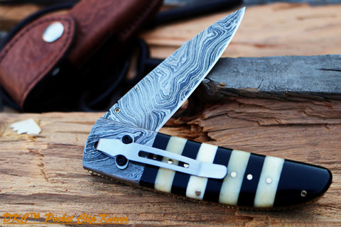"""DKC Knives DKC-105-PC BUMBLE BEE Pocket Clip Damascus Folding Pocket Knife 4.5"""" Folded 8"""" Long 7.2oz oz High Class Looks Incredible Feels Great In Your Hand And Pocket Hand Made (DKC-105-PC)"""