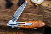 "DKC-58-LJ-OW-DS-PC LITTLE JAY Olive Wood Handle Pocket Clip Damascus Folding Pocket Knife 4"" Folded 7"" Approx 3.25""Blade a Long 4.7oz oz"