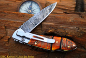 "DKC-58-LJ-EH-DS-PC LITTLE JAY Chief Handle Pocket Clip Damascus Folding Pocket Knife 4"" Folded 7"" Approx 3.25""Blade a Long 4.7oz oz (DKC-58-LJ-EH-DS-PC)"