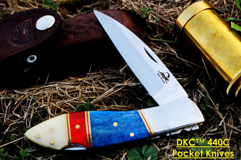 "DKC-58-Lj- Cl-440c Classic LITTLE JAY 440c Stainless Steel Folding Pocket Knife 4"" Folded 7"" Long 4.7oz oz Hand Made Lj-Series"