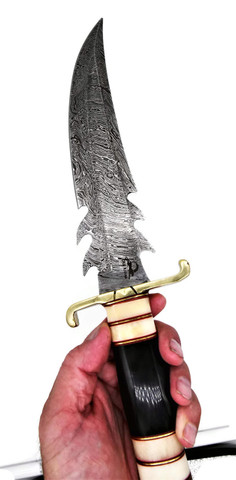 """DKC-6001 LUCIFER BOWIE Damascus Steel Hunting Knife DKC Knives 1.2 lbs 15""""Long 10'' Blade Nomano Series"""