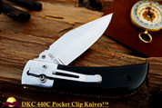 "DKC-122-440c-PC NIGHT RIDER Pocket Clip 440c Stainless Steel 4.5' Folded 8"" Open 7 oz Pocket Folding Knife DKC Knives"