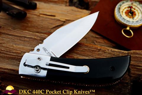 "DKC-122-440c-PC NIGHT RIDER Pocket Clip 440c Stainless Steel 4.5' Folded 8"" Open 7 oz Pocket Folding Knife DKC Knives"