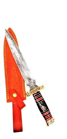 "DKC-6006 Black Knight Dagger Bowie Damascus Steel Hunting Knife DKC Knives 18oz 15""Long 10'' Blade"