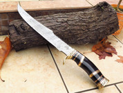 "DKC-6009 Black Swami Bowie Damascus Steel Hunting Knife DKC Knives 1.6 lbs 15"" Long 10'' Blade"