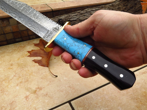 "DKC-6010 Blue Torino Bowie Damascus Steel Hunting Knife DKC Knives 1.lbs 14.5""Long 9.5'' Blade"