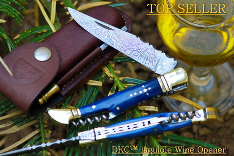 "DKC-783 Ocean Laguiole Damascus Steel Folding Pocket Knife 4 oz 8.5"" Long 3.5"" Blade DKC Knives"