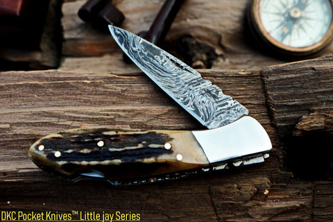 "DKC-58-LJ-ST-DS Little Jay Stag Horn Damascus Steel Blade Folding Knife Stag Horn Handle Folding Pocket Knife 4"" Folded 7.25"" Long 5 oz 3.25"" Blade LJ-Series"