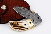 "DKC-43-ST-DS STAG Horn Thumb Damascus Steel Folding Pocket Knife 3.5"" Folded 6.25"" Open 7.5oz 2.25"" Blade"