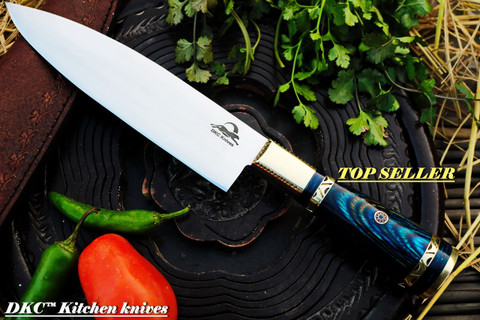 "DKC-533-440c-BL BLUE Grand Master Chef Knife 440c Stainless Steel DKC Knives 16.8 oz 12"" Long 7.5"" Blade (533-440c-BL)"