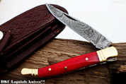 "DKC-62-RD RED Prince Laguiole Style Damascus Steel Folding Pocket Knife 4"" Folded 7.25"" Open 3oz 3.25"" Blade 4"" Closed"