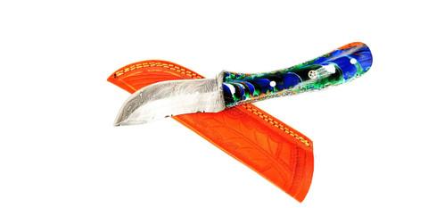 "DKC-6015-DS JUNGLE SWIRL Damascus Steel Hunting Knife DKC Knives 12oz 10"" Long 4.5"" Blade Nomano Series"