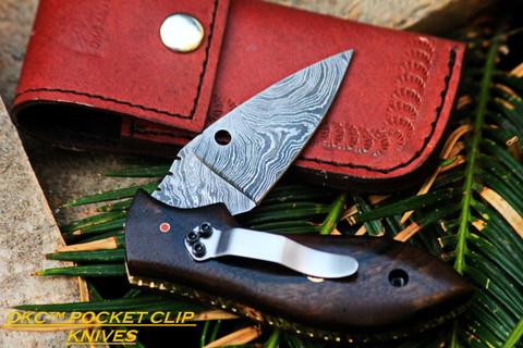 "DKC-38-DS-PC Pocket Clip DIPLOMAT Damascus Folding Pocket Knife 7.5 "" Long, 4"" Folded 4oz Pocket Knife DKC Knives TM"