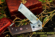 "DKC-27-BM-DS Pocket Clip WIZARD Damascus Steel Tanto Folding Pocket Knife 7"" Long, 4"" Folded 6oz"