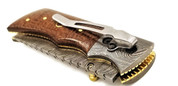 "DKC-27-BM-DS Pocket Clip WIZARD Damascus Steel Tanto Folding Pocket Knife 7"" Long, 4"" Folded 6oz"