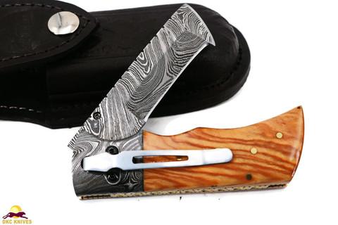 "DKC-27-OW-DS-PC WIZARD Pocket Clip  Olive Wood Handle 7"" Long, 4"" Folded 6oz Damascus Tanto Folding Pocket Hunting Knife DKC KNIVES TM (Damascus Steel)"
