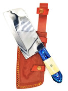 "DKC-521-CL-440c Blue Moon Cleaver Chef Knife 440c Stainless Steel Handmade 17.5 oz 12"" Long 7"" Blade"