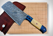 "DKC-521-CL-DS Blue Moon Cleaver Chef Knife Damascus Steel Handmade 17.5 oz 12"" Long 7"" Blade"