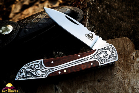 "DKC Knives DKC-37-SE-440c Victorian Snake Eyes 440c Stainless Steel Folding Pocket Knife Snake Eyes Wood 7.75"" Long, 4.5"" Folded 3"" Blade 4.8oz Hand Made Incredible Look and Feel"
