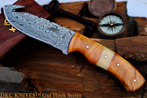 """DKC-963 AMAZON Gut Hook Skinner Damascus Steel Knife 9"""" Overall 5"""" Blade 9 oz"""