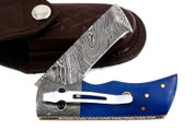 "DKC Knives DKC-27-BL-DS-PC Wizard Blue Bone Handle Damascus Steel Blade with Pocket Clip 7"" Long, 4"" Folded 6oz Damascus Tanto Folding Pocket Hunting Knife TM"
