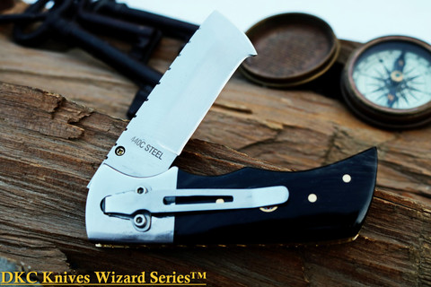 "DKC-27-BH 440c-PC Wizard Buffalo Horn Pocket Clip 440c Stainless Steel 7"" Long 4"" Folded 6 oz Pocket Folding Knife"