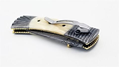 "DKC-159-DS-PC Crocodile Pocket Clip Damascus 4.5' Folded 8"" Open 9.5 oz Pocket Folding Knife Hand Made"