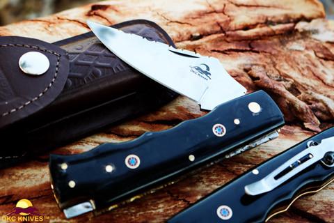 """DKC-34-440c-PC Pocket Clip Officer 440c Stainless Steel 8"""" Long 4.5"""" Folded 5.7 oz Pocket Folding Knife (DKC-34-440c-PC)"""