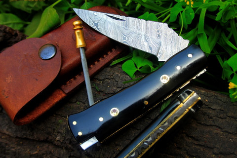 "DKC-34-DS-PC Pocket Clip  OFFICER  Damascus Steel 8"" Long 4.5""Folded 5.7 oz Pocket Folding Damascus Knife"