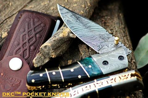 "DKC-135-DS-PC Pocket Clip  SWAMP JACK Damascus Steel Folding Pocket Knife 4.5"" Folded 8"" Open 7.5oz 3.5"" Blade"