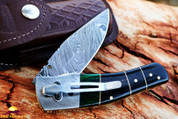 "DKC-135-DS-PC Pocket Clip  SWAMP JACK Damascus Steel Folding Pocket Knife 4.5"" Folded 8"" Open 7.5oz 3.5"" Blade"