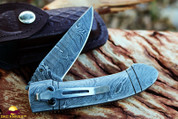 "DKC-96-PC ZORIAN Pocket Clip Damascus 4.75' Folded 8.25"" Open 9.9 oz Pocket Folding Knife DKC Knives TM Hand Made Incredible Look and Feel (DKC-96-DS-PC)"
