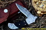 "DKC Knives DKC-527-Steel-BL-DS Black Wolf Steel Bolster Damascus Steel Folding Pocket Knife 4.5"" Folded 7.5"" Long 3"" Blade 7oz"