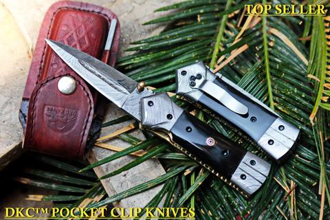 "DKC-130-BH-DS- PC NIGHT STAR Pocket Clip Damascus Blade 4.5' Folded 8"" Open 9.5 oz"