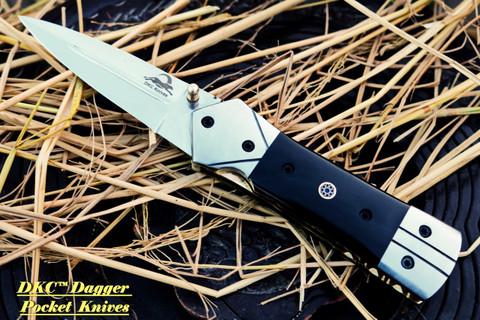 "DKC-130-440c-PC NIGHT STAR Pocket Clip 440c Stainless Steel 4.5' Folded 8"" Open 9.5 oz DKC Folding Knife"