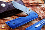 "DKC-124-DS- PC BLUE MIAMI Pocket Clip  Damascus  Folding  Knife   6.9oz oz 4.5""Closed 3.25"" Blade 7"" Open"