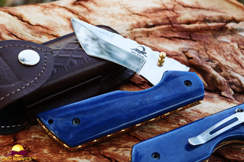 "DKC-124-440c- PC BLUE MIAMI Pocket Clip 440c Stainless Steel Folding Knife 6.9oz oz 4.5""Closed 3.25"" Blade 7"" Open (DKC-124-440c-PC)"