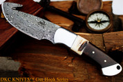 "DKC Knives DKC-964-DS YITZA Gut Hook Skinner Damascus Steel Knife 8.5"" Overall 4."" Blade 9.5 oz Hand Made"