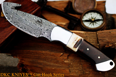 """DKC Knives DKC-964-DS YITZA Gut Hook Skinner Damascus Steel Knife 8.5"""" Overall 4."""" Blade 9.5 oz Hand Made"""