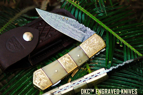 "DKC-173-440c Palace Guard 440c Stainless Steel 3.5"" Blade 4.5' Folded 8"" Open 8.5 oz Pocket Folding Knife DKC Knives Hand Made Incredible Look and Feel"