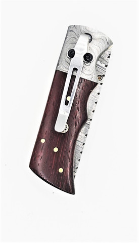"DKC-27-PD-DS-PC WIZARD Pocket Clip Padauk Wood Damascus Steel Tanto Folding Pocket Knife 7"" Long, 4"" Folded 6oz"
