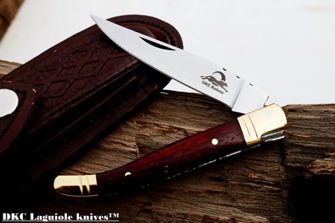 "DKC-62-PD-440c Laguiole Prince Padauk Wood 440c Stainless Blade 4"" Folded 7.25"" Open 3oz 3"" Blade (DKC-62-PD-440c)"