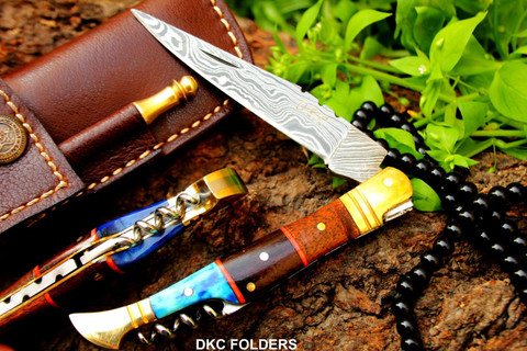"""DKC-55 BLUE SQUIRE Damascus Folding Laguiole Pocket Knife 4.5"""" Folded 8"""" Long 2.5oz oz High Class Looks Incredible Feels Great In Your Hand And Pocket Hand Made DKC Knives TM"""
