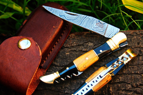"""DKC-53 BLONDE SQUIRE Damascus Folding Laguiole Pocket Knife 4.5"""" Folded 8"""" Long 2.5oz oz High Class Looks Incredible Feels Great In Your Hand And Pocket Hand Made DKC Knives ™"""