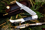 "DKC-54-DS SQUIRE MASTER Damascus Folding Corkscrew  Laguiole Pocket Knife 4.5"" Folded 8.5"" Long 3.6oz"