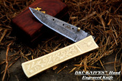 "DKC-45 GOLDEN RAM (large) Damascus Folding Pocket Knife 6"" Folded, 11"" Open 16oz Polished Brass Custom Engraved"