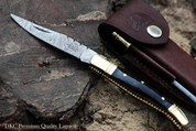 "DKC-62 BLACK PRINCE Damascus Folding Laguiole Pocket Knife 4.5"" Folded 8"" Long 2.3oz oz"